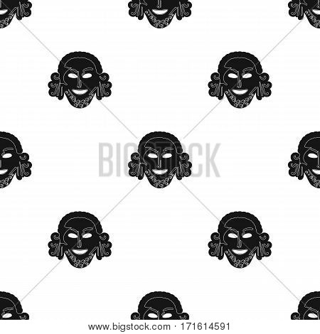 Greek antique mask icon in black style isolated on white background. Greece pattern vector illustration.