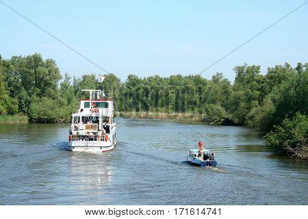 Passenger Ship In The Biesbosch National Park,