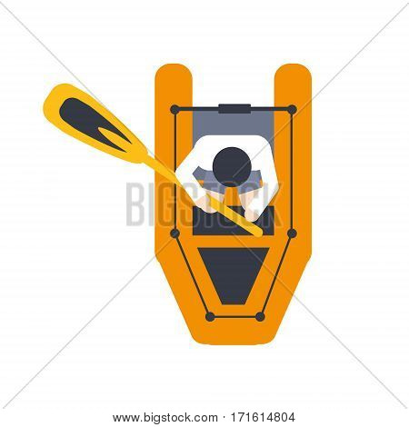 Orange Raft For One Person With Peddle, Part Of Boat And Water Sports Series Of Simple Flat Vector Illustrations. River Boating Sportive Equipment Piece Isolated Item On White Background.