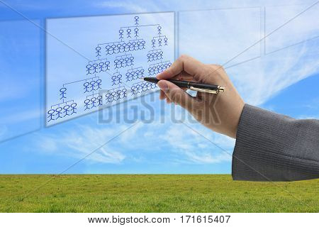 Asian businessman writing organization chart on white board for human resource concept