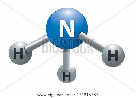 Vector illustration of model of ammonia molecule.