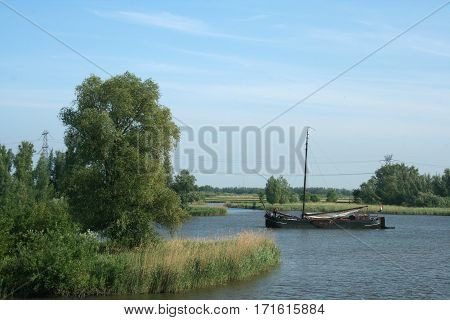 Old Cargo Ship In The Biesbosch National Park,