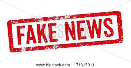 Red Stamp on a white background - Fake news