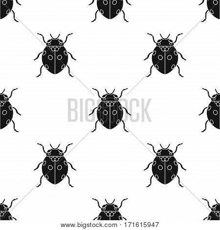 Ladybug icon in black design isolated on white background. Insects pattern stock vector illustration.