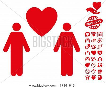 Gay Lovers pictograph with bonus valentine pictograph collection. Vector illustration style is flat iconic red symbols on white background.
