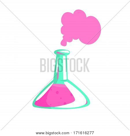 Laboratory Test Tube With Pink Liquid Showing Chemical Reaction, Part Of Chemist Scientist Equipment Set Isolated Object. Cartoon Realistic Chemistry Related Item Vector Illustration