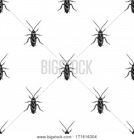 Cockroach icon in black design isolated on white background. Insects pattern stock vector illustration.