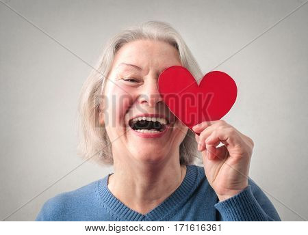 Old lady in love laughing