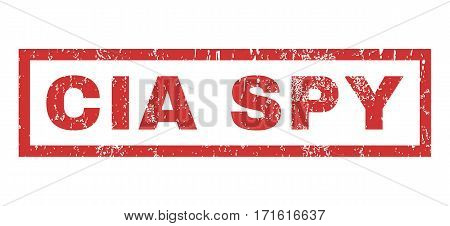 CIA Spy text rubber seal stamp watermark. Caption inside rectangular banner with grunge design and dust texture. Horizontal vector red ink emblem on a white background.