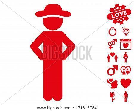 Gentleman Akimbo pictograph with bonus passion symbols. Vector illustration style is flat iconic red symbols on white background.