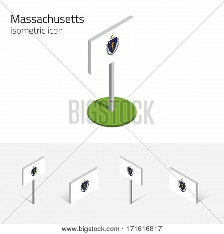 Flag of Massachusetts state (Commonwealth of Massachusetts, USA), vector set of isometric flat icons 3D style. Editable design element for banner, website, presentation, infographic, map, collage