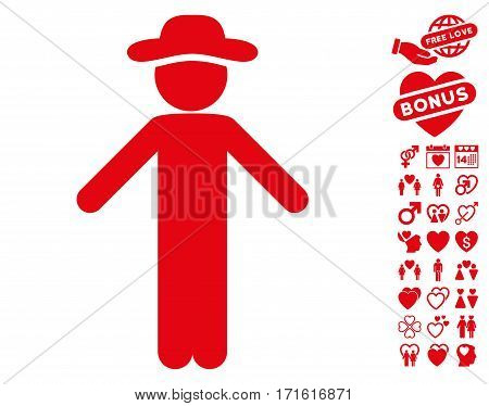 Gentleman Apology pictograph with bonus lovely pictures. Vector illustration style is flat iconic red symbols on white background.