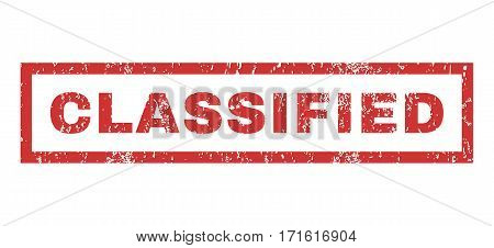 Classified text rubber seal stamp watermark. Tag inside rectangular shape with grunge design and unclean texture. Horizontal vector red ink emblem on a white background.