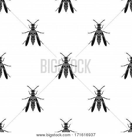 Wasp icon in black design isolated on white background. Insects pattern stock vector illustration.