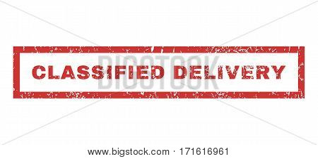 Classified Delivery text rubber seal stamp watermark. Tag inside rectangular shape with grunge design and unclean texture. Horizontal vector red ink emblem on a white background.