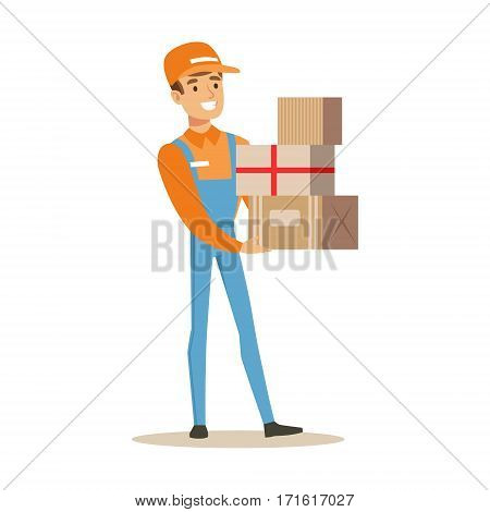 Delivery Service Worker In Dungarees Holding Pile Of Boxes, Smiling Courier Delivering Packages Illustration. Vector Cartoon Male Character In Uniform Carrying Packed Objects With A Smile.