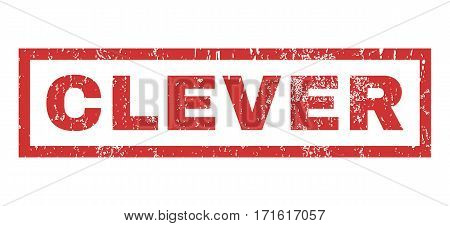 Clever text rubber seal stamp watermark. Caption inside rectangular shape with grunge design and dust texture. Horizontal vector red ink emblem on a white background.