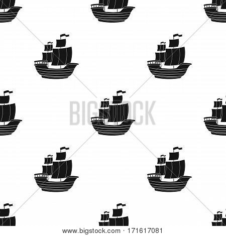 Pirate ship icon in black style isolated on white background. Pirates pattern vector illustration.