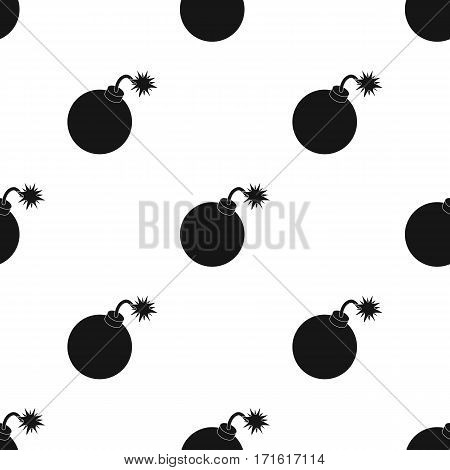 Pirate grenade icon in black style isolated on white background. Pirates pattern vector illustration.