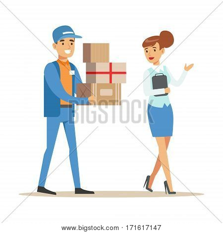 Woman Showing The Way For Delivery Service Worker, Smiling Courier Delivering Packages Illustration. Vector Cartoon Male Character In Uniform Carrying Packed Objects With A Smile.