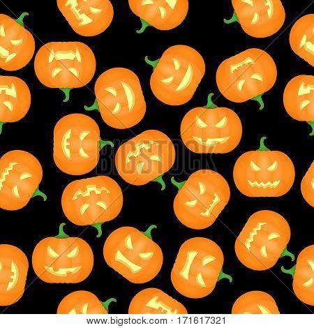 Halloween Pumkins Seamless Pattern Background. Vector illustration