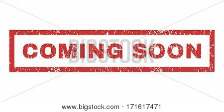 Coming Soon text rubber seal stamp watermark. Tag inside rectangular shape with grunge design and scratched texture. Horizontal vector red ink sign on a white background.