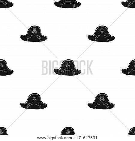 Pirate hat with skull icon in black style isolated on white background. Pirates pattern vector illustration.