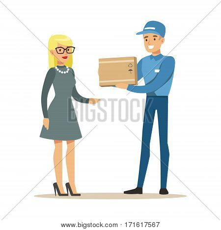 Delivery Service Worker Bringing The Box To Blond Woman, Smiling Courier Delivering Packages Illustration. Vector Cartoon Male Character In Uniform Carrying Packed Objects With A Smile.
