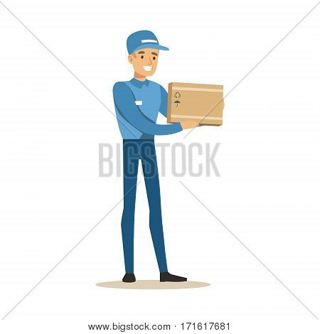 Delivery Service Worker Holding Small Fragile Box, Smiling Courier Delivering Packages Illustration. Vector Cartoon Male Character In Uniform Carrying Packed Objects With A Smile.
