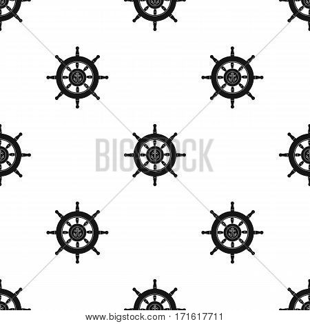 Wooden ship steering wheel icon in black style isolated on white background. Pirates pattern vector illustration.