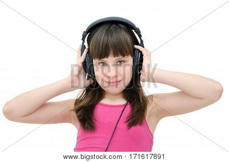 Teen Girl Listening To Headphones, Isolated On White Background. Leisure Teenager.