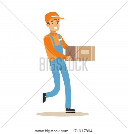 Delivery Service Worker Running Holding Carton Box, Smiling Courier Delivering Packages Illustration. Vector Cartoon Male Character In Uniform Carrying Packed Objects With A Smile.