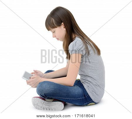 Teen Girl Uses A Gadget, Isolated On White Background.
