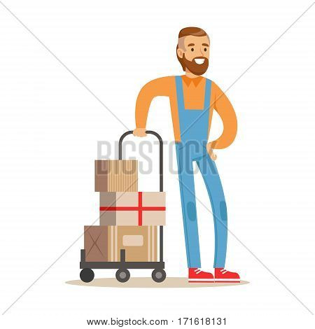 Beardy Delivery Service Worker With Loaded Cart, Smiling Courier Delivering Packages Illustration. Vector Cartoon Male Character In Uniform Carrying Packed Objects With A Smile.