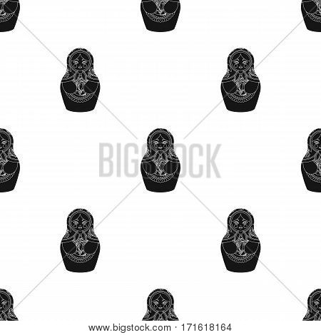 Russian matrioshka icon in black design isolated on white background. Russian country pattern stock vector illustration.