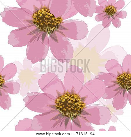 Cosmos. Colorful texture of pressed dry flowers. Seamless pattern for continuous replicate. Beautiful photo collage.