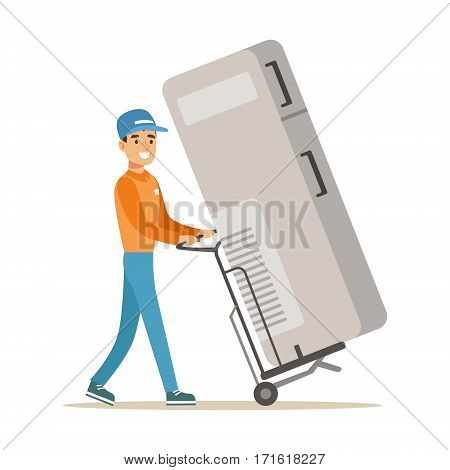 Delivery Service Worker With Large Fridge On Cart, Smiling Courier Delivering Packages Illustration. Vector Cartoon Male Character In Uniform Carrying Packed Objects With A Smile.