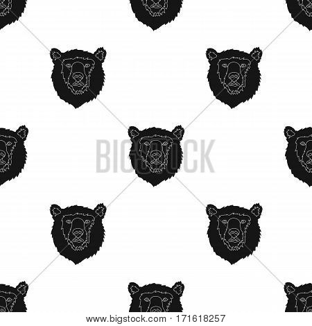 Brown bear muzzle icon in black design isolated on white background. Russian country pattern stock vector illustration.