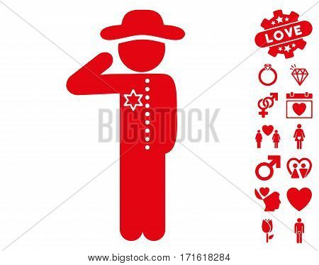 Gentleman Officer icon with bonus passion pictograms. Vector illustration style is flat iconic red symbols on white background.