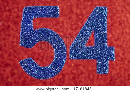 Number fifty-four blue over a red background. Anniversary. Horizontal