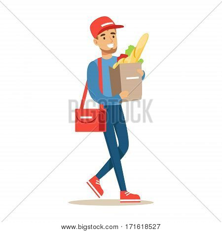 Delivery Service Worker Carrying Paper Bag With Supermarket Products, Smiling Courier Delivering Packages Illustration. Vector Cartoon Male Character In Uniform Carrying Packed Objects With A Smile.