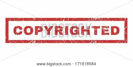 Copyrighted text rubber seal stamp watermark. Tag inside rectangular shape with grunge design and dust texture. Horizontal vector red ink sign on a white background.