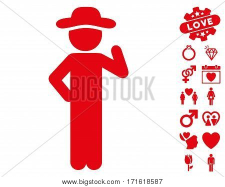 Gentleman Proposal pictograph with bonus amour icon set. Vector illustration style is flat iconic red symbols on white background.