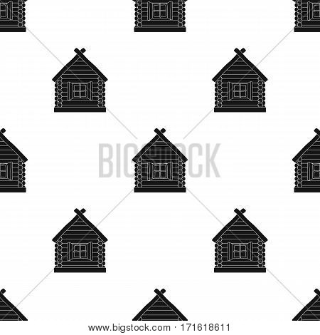 Wooden house icon in black design isolated on white background. Russian country pattern stock vector illustration.