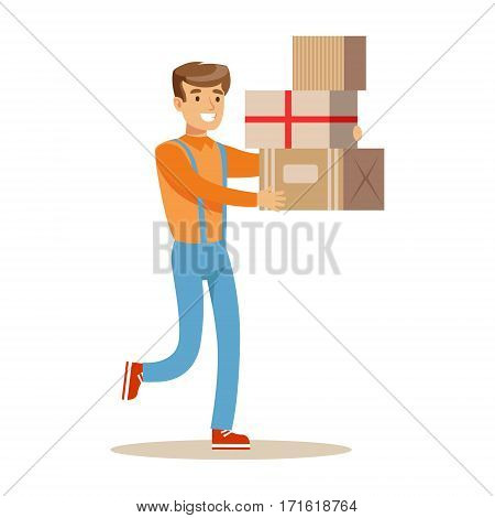 Delivery Service Worker Hurrying With Pile Of Boxes, Smiling Courier Delivering Packages Illustration. Vector Cartoon Male Character In Uniform Carrying Packed Objects With A Smile.