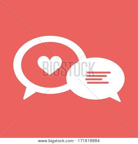 Love chat line icon, heart in speech bubble, vector graphics, a red background, eps 10.