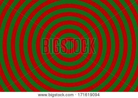 Illustration of red and dark green concentric circles