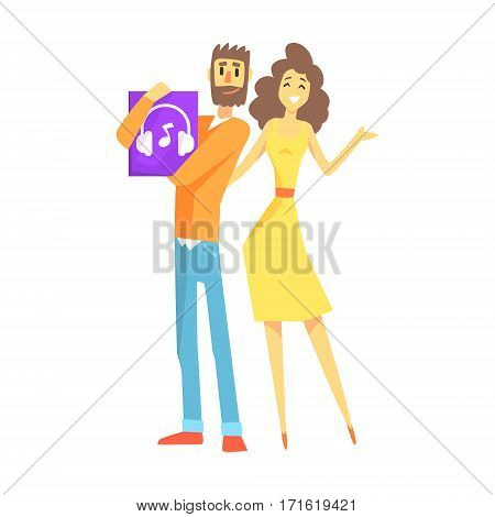 Couple Holding Headphones, Department Store Shopping For Domestic Equipment And Electronic Objects For Home. Satisfied Customer In Shopping Mall With Newly Bought Home Appliances.