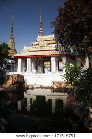 stupas in Wat Pho (Wat Phra Chettuphon), Bangkok.Thailand
