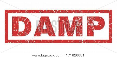 Damp text rubber seal stamp watermark. Caption inside rectangular banner with grunge design and unclean texture. Horizontal vector red ink sticker on a white background.